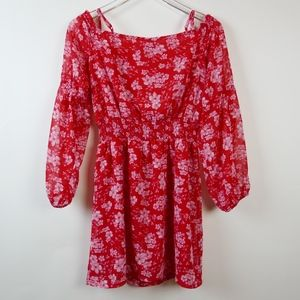 DIVIDED Red Floral Boho Mini Dress w/ Full Sleeves